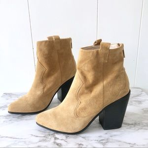 Raye • New Ella Suede Western Booties Stacked Heel